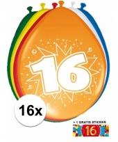 16 party ballonnen 16 jaar opdruk sticker