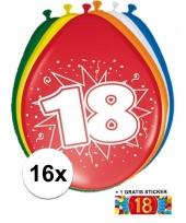 16 party ballonnen 18 jaar opdruk sticker