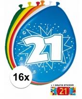 16 party ballonnen 21 jaar opdruk sticker