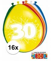 16 party ballonnen 30 jaar opdruk sticker