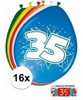 16 party ballonnen 35 jaar opdruk sticker