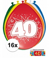 16 party ballonnen 40 jaar opdruk sticker