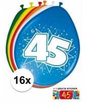16 party ballonnen 45 jaar opdruk sticker
