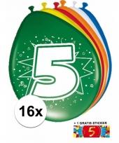 16 party ballonnen 5 jaar opdruk sticker