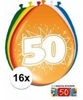 16 party ballonnen 50 jaar opdruk sticker