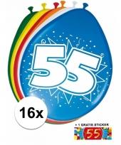 16 party ballonnen 55 jaar opdruk sticker
