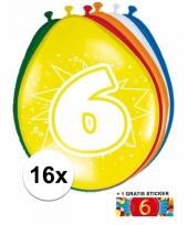 16 party ballonnen 6 jaar opdruk sticker