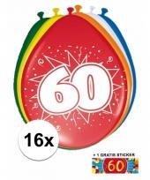 16 party ballonnen 60 jaar opdruk sticker