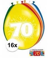 16 party ballonnen 70 jaar opdruk sticker
