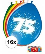 16 party ballonnen 75 jaar opdruk sticker