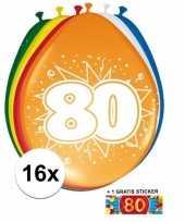 16 party ballonnen 80 jaar opdruk sticker