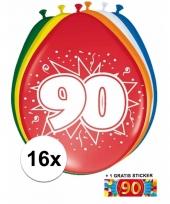 16 party ballonnen 90 jaar opdruk sticker