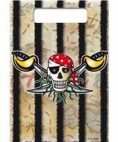 16x piraten feestzakjes snoep uitdeelzakjes
