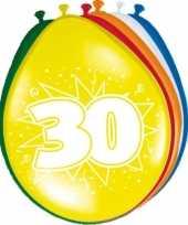 16x stuks 30 jaar versiering feestballonnen versiering