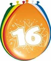 16x stuks feestballonnen versiering 16 jaar