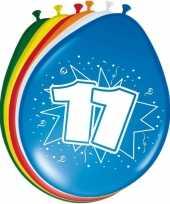 16x stuks gekleurde ballonnen 11 jaar