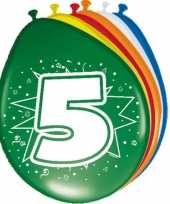 16x stuks gekleurde ballonnen 5 jaar