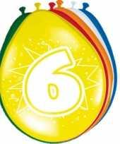 16x stuks gekleurde ballonnen 6 jaar