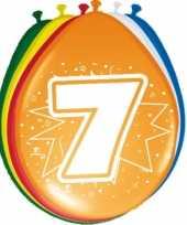 16x stuks gekleurde ballonnen 7 jaar