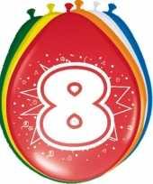 16x stuks gekleurde ballonnen 8 jaar