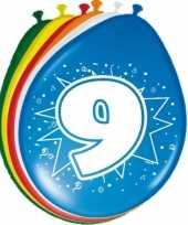 16x stuks gekleurde ballonnen 9 jaar