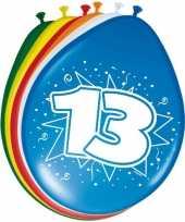 16x stuks gekleurde ballonnen versiering 13 jaar 30 cm