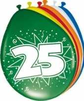 16x stuks gekleurde ballonnen versiering 25 jaar 16x stuks