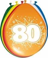 16x stuks leeftijfd ballonnen versiering 80 jaar
