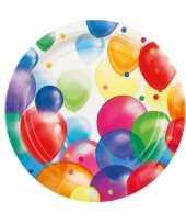 16x wegwerpbordjes met feestelijke ballonnenopdruk karton 23 cm