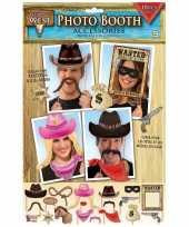 18x photobooth props cowboy feestje