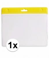 1x badgehouder voor aan een keycord geel 11 2 x 58 cm