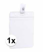 1x beurzen naamkaartjeshouder met klem 8 5 x 12 2 cm
