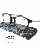 2 25 leesbrillen in grijze panterprint