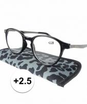 2 5 leesbrillen in grijze panterprint