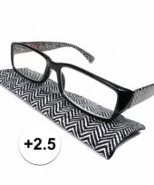 2 5 leesbrillen zigzag zwart met wit