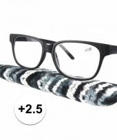 2 5 leesbrillen zwart met gestreept hoesje