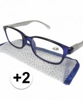 2 leesbrillen blauw met zilver