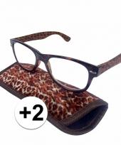 2 leesbrillen in panterprintje