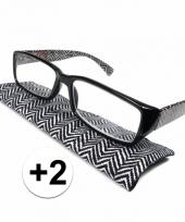 2 leesbrillen zigzag zwart met wit