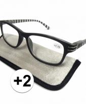 2 leesbrillen zwart wit gestreept