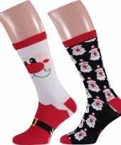 2 paar kerst sokken met kerstmannen voor heren
