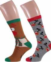2 paar kerst sokken met rendieren voor heren
