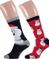 2 paar kerst sokken met sneeuwpoppen voor heren
