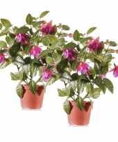 2 stuks fuchsia kunstplanten in pot 30 cm fuchsia