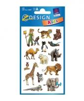 2 vellen met dierentuin dieren stickers