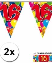 2 x leeftijd vlaggenlijnen 16 jaar met sticker