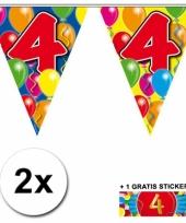 2 x leeftijd vlaggenlijnen 4 jaar met sticker