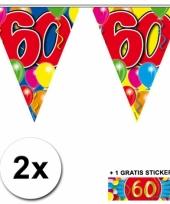 2 x leeftijd vlaggenlijnen 60 jaar met sticker