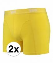2 x mannen boxers geel gekleurd katoen pakket