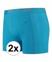 2 x mannen boxers turquoise blauw katoen pakket